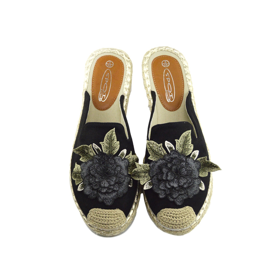 Womens Ladies Espadrilles Flat Summer Sandals Summer Holiday Shoes - Black