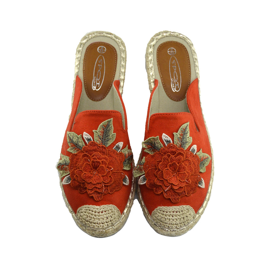 Womens Ladies Espadrilles Flat Summer Sandals Summer Holiday Shoes - Orange