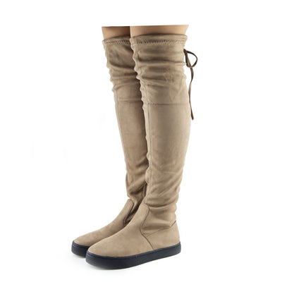 Women's New Over The Knee Flat Thigh High Boots Chunky Sole Lace Up Slouch - Mocha