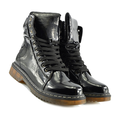 WOMENS VINTAGE RETRO CHUNKY FLAT LACE UP PUNK BIKER ANKLE BOOTS - Black Patent