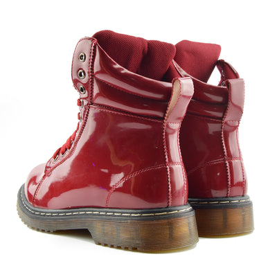 WOMENS VINTAGE RETRO CHUNKY FLAT LACE UP PUNK BIKER ANKLE BOOTS - Red Patent AB03