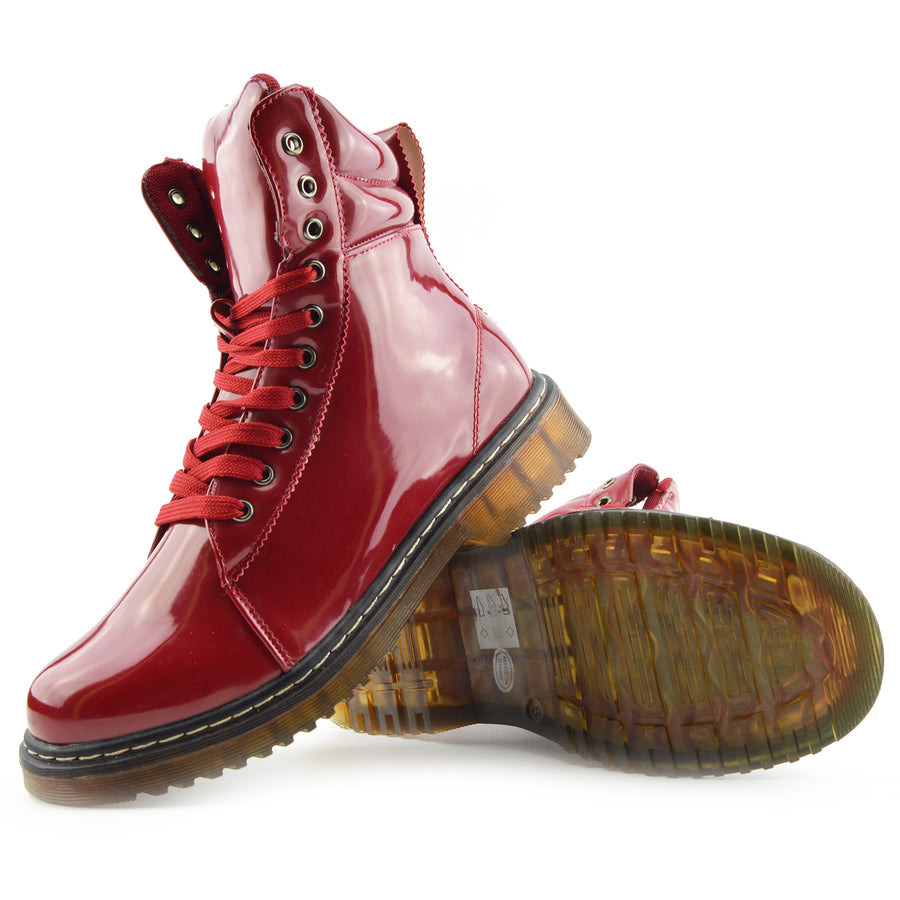 Bailey Ankle Cushioned Flat Punk Biker Boots - Red Patent AB03