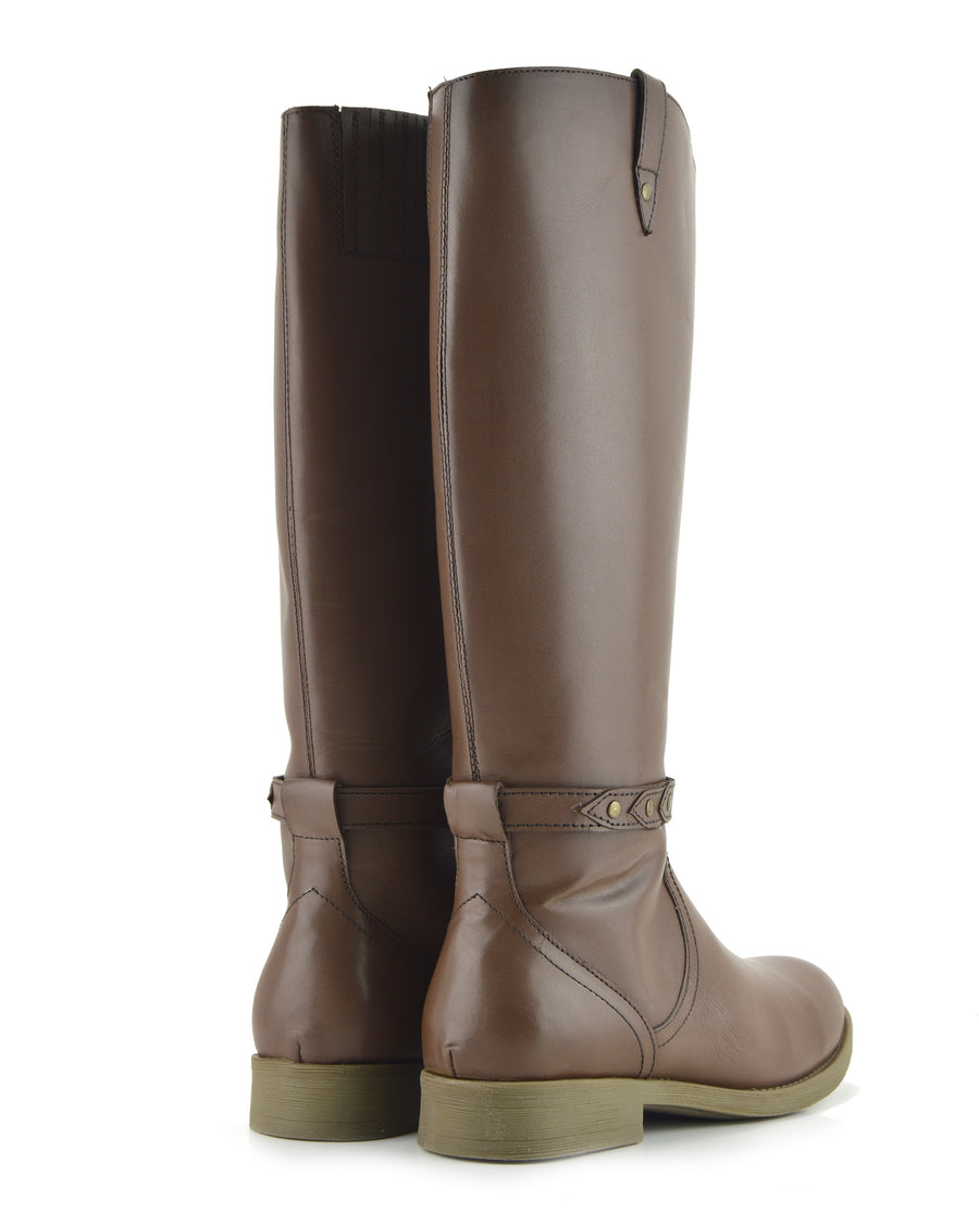 Tabbi Leather Knee High Buckle Riding Boots - Brown