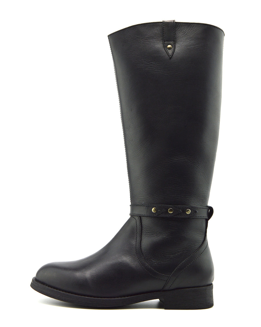 Tabbi Leather Knee High Buckle Riding Boots - Black