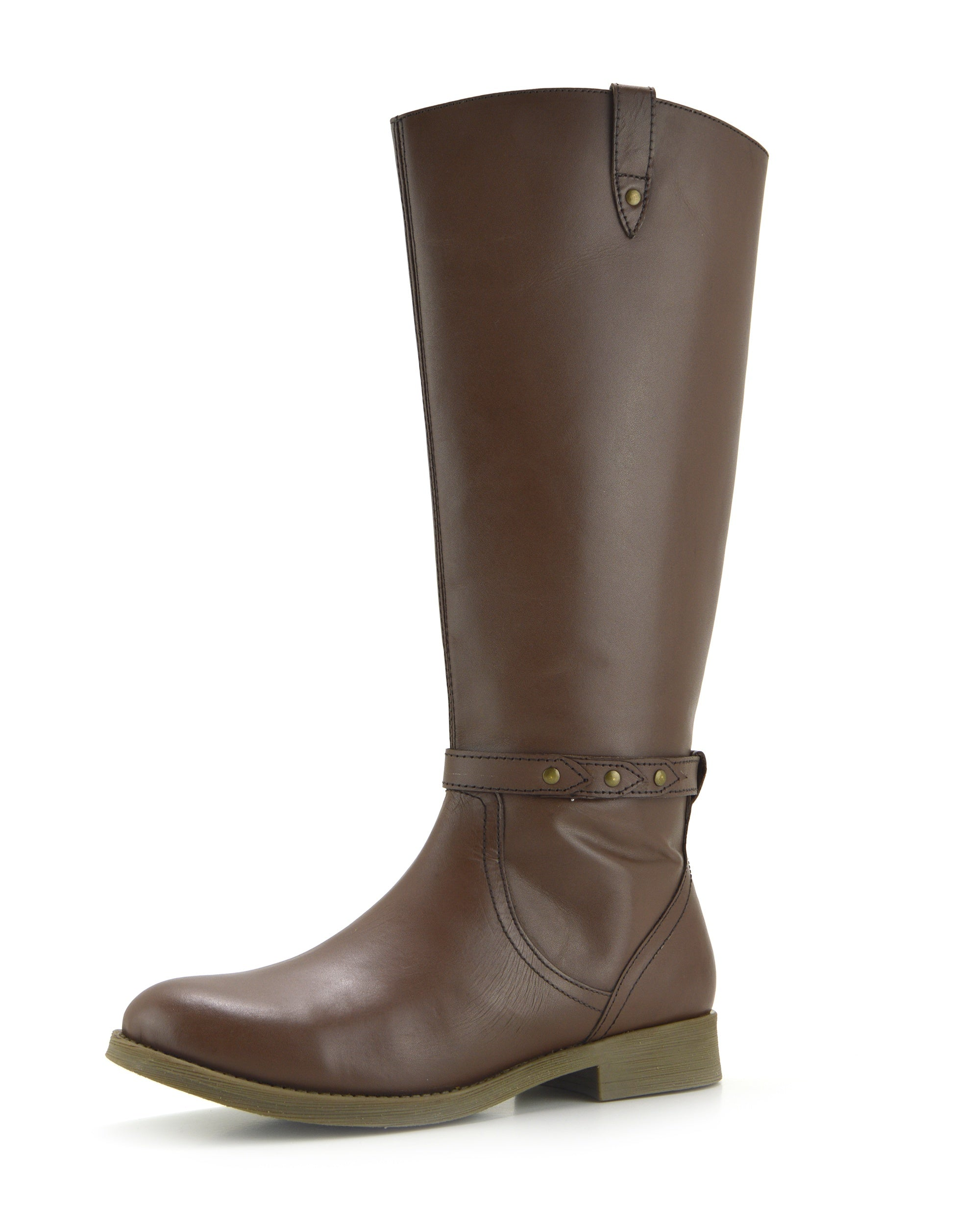 coupon code official price los angeles Tabbi Leather Knee High Buckle Riding Boots - Brown