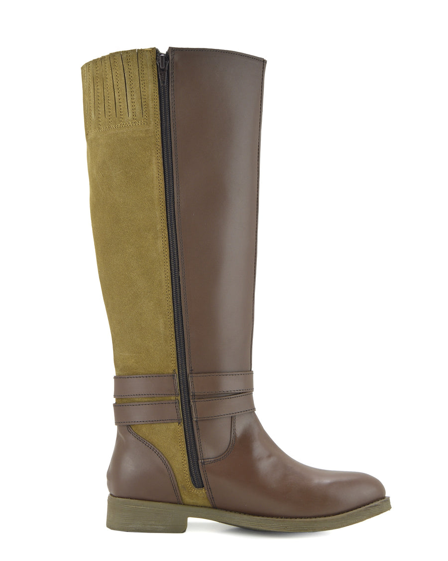 Tilly Leather Knee-High Riding Boots Elastic Wide Calf Boots - Tan