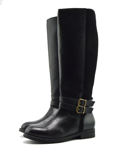 Tilly Leather Knee-High Riding Boots Elastic Wide Calf Boots - Black