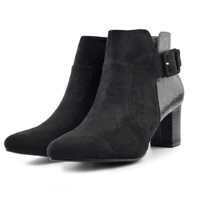 Womens Mid High Block Heel Biker Chelsea Ankle Boots Casual Zip Up Shoes - Black