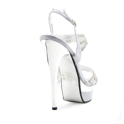 Womens Platform High Heel Party Shoes - Silver