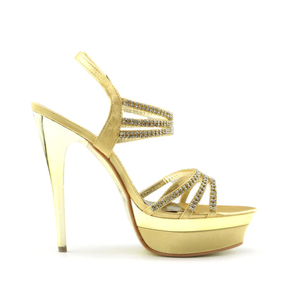 Womens Platform High Heel Party Shoes - Gold
