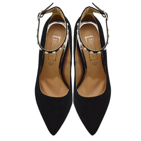 Pearl Ankle Strap Point Court Shoes - Black