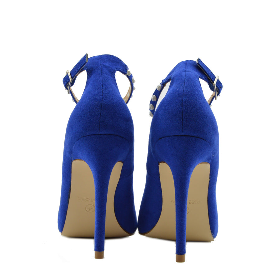 Womens Pointed High Heel Smart Work Party Pumps Red Black Court Shoes - Blue