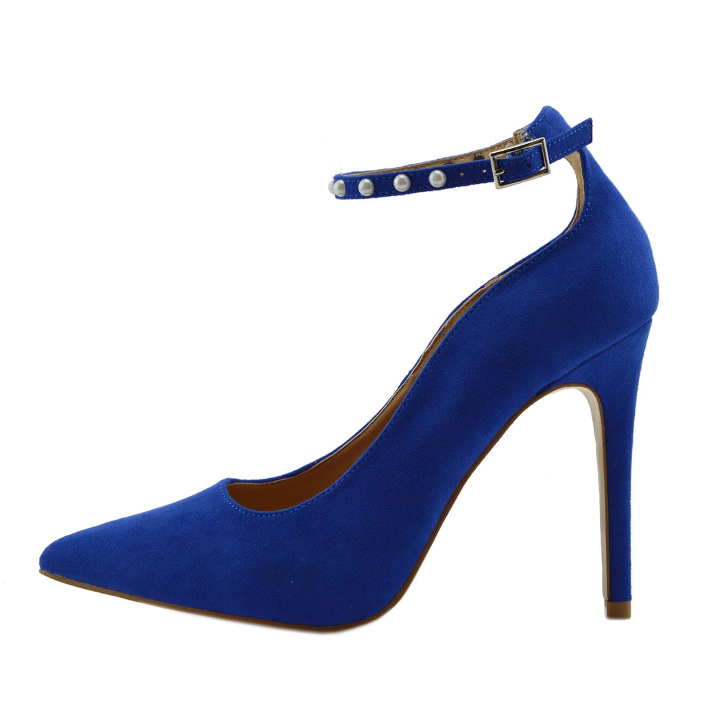 Pearl Ankle Strap Point Court Shoes - Blue