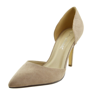 Mila Pointed Toe Stiletto Court Shoes - Nude