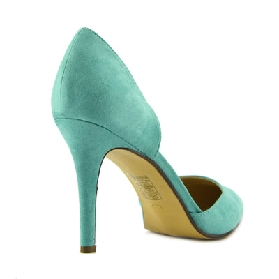 Mila Pointed Toe Stiletto Court Shoes - Light Green