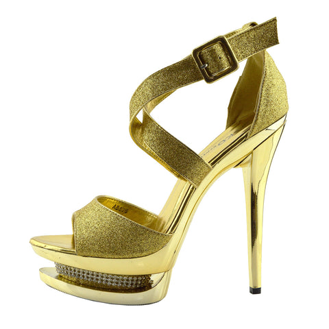 Womens Charmaine Clear Perspex High Heels Fashion Platform Pole Dancing Shoes - Gold AB836