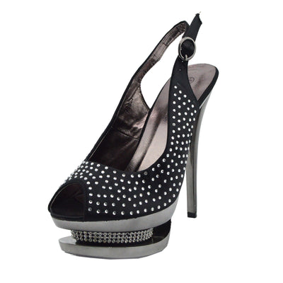 Womens Charmaine Clear Perspex High Heels Fashion Platform Pole Dancing Shoes - Black AB838