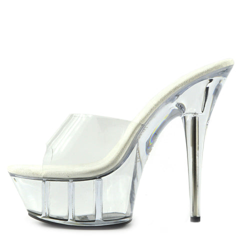 Womens Charmaine Clear Perspex High Heels Fashion Platform Pole Dancing Shoes - Clear