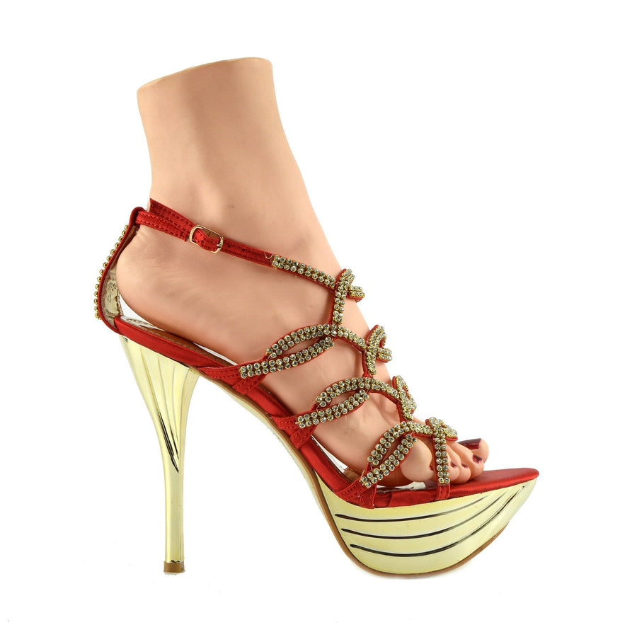 Womens Charmaine Clear Perspex High Heels Fashion Platform Pole Dancing Shoes - Red AB191