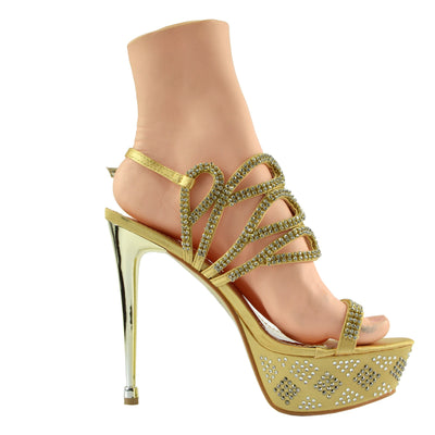 Womens Charmaine Clear Perspex High Heels Fashion Platform Pole Dancing Shoes - Gold AB3909