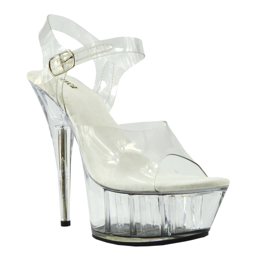 Womens Charmaine Clear Perspex High Heels Fashion Platform Pole Dancing Shoes - Clear 482