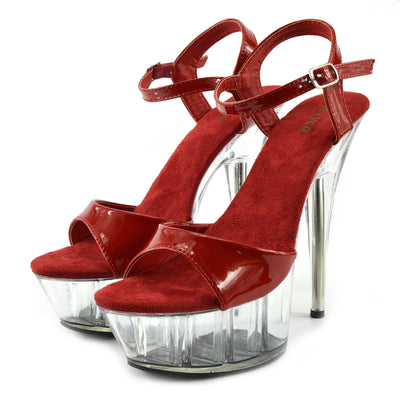 Womens Charmaine Clear Perspex High Heels Fashion Platform Pole Dancing Shoes - Red