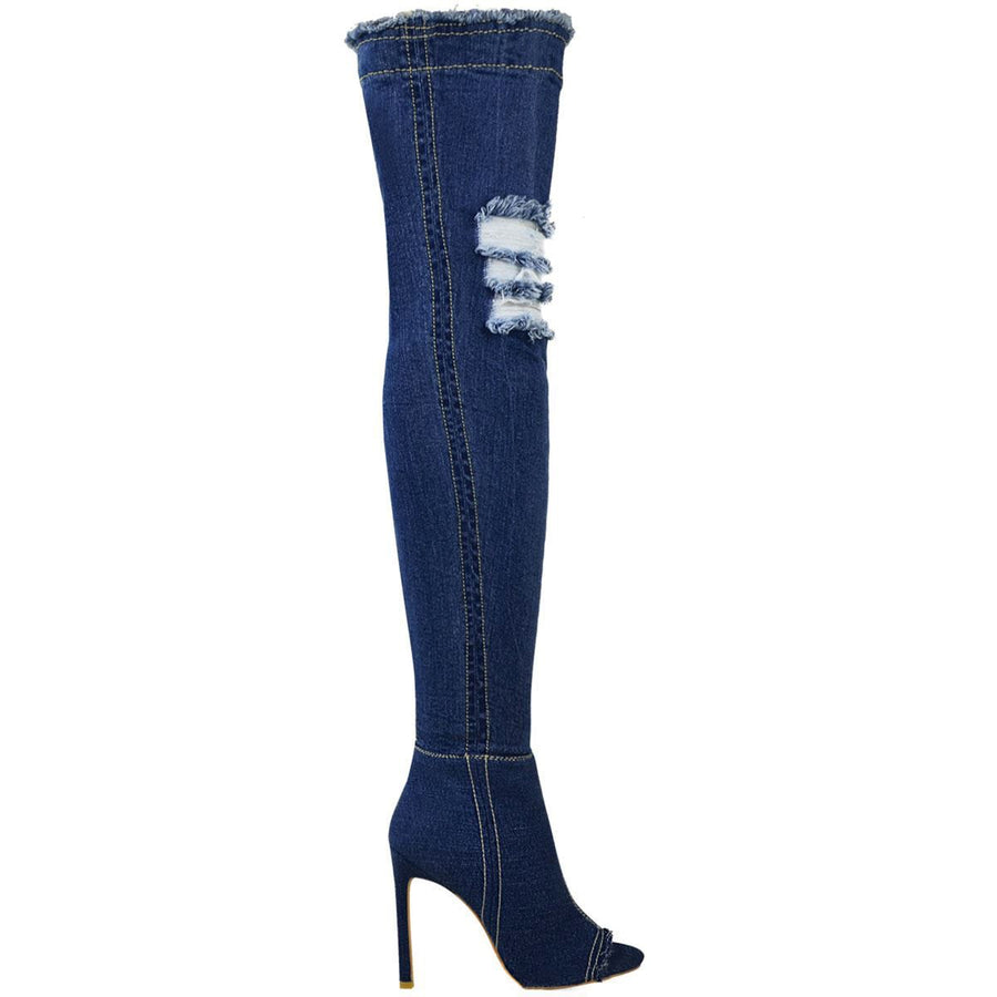 Womens Stretch Denim Over The Knee Thigh High Open Toe Stilettos High Heel Boots - Dark Blue Denim