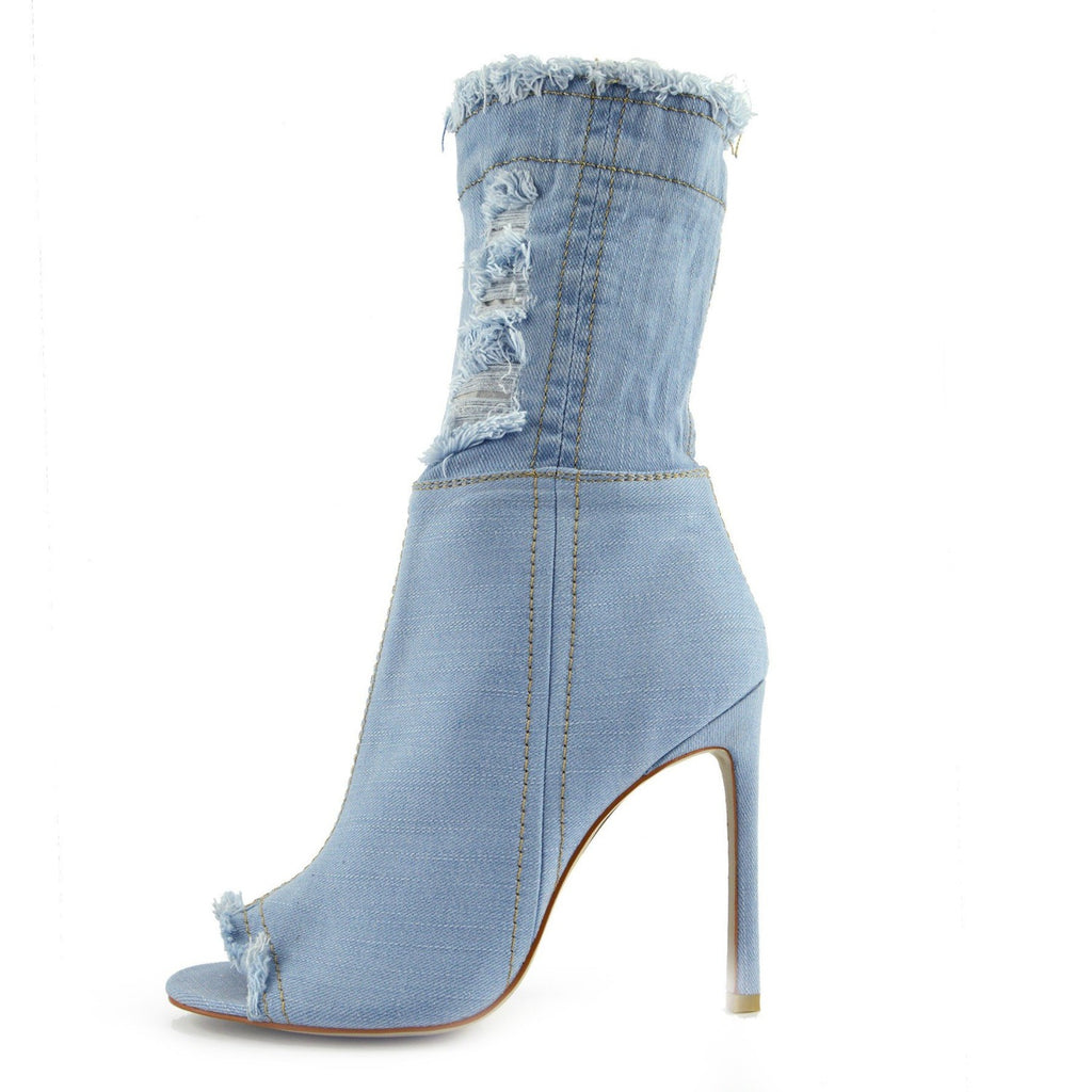 Jade Stretch Peep Toe Sock Ankle Denim Boots - Light Blue Denim