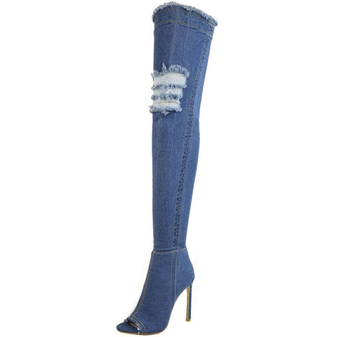 Jade Stretch Peep Toe Over the Knee Denim Boots - Mid Blue Denim