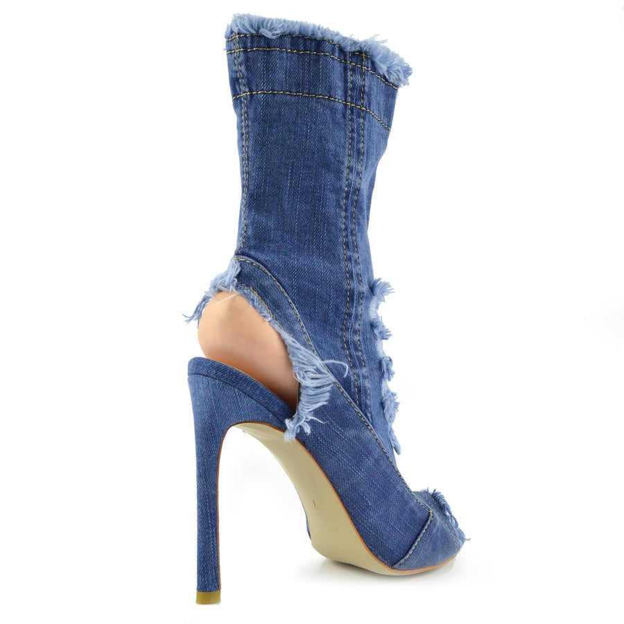 Jade Stretch Peep Toe Open Heel Sock Ankle Denim Boots - Light Blue Denim