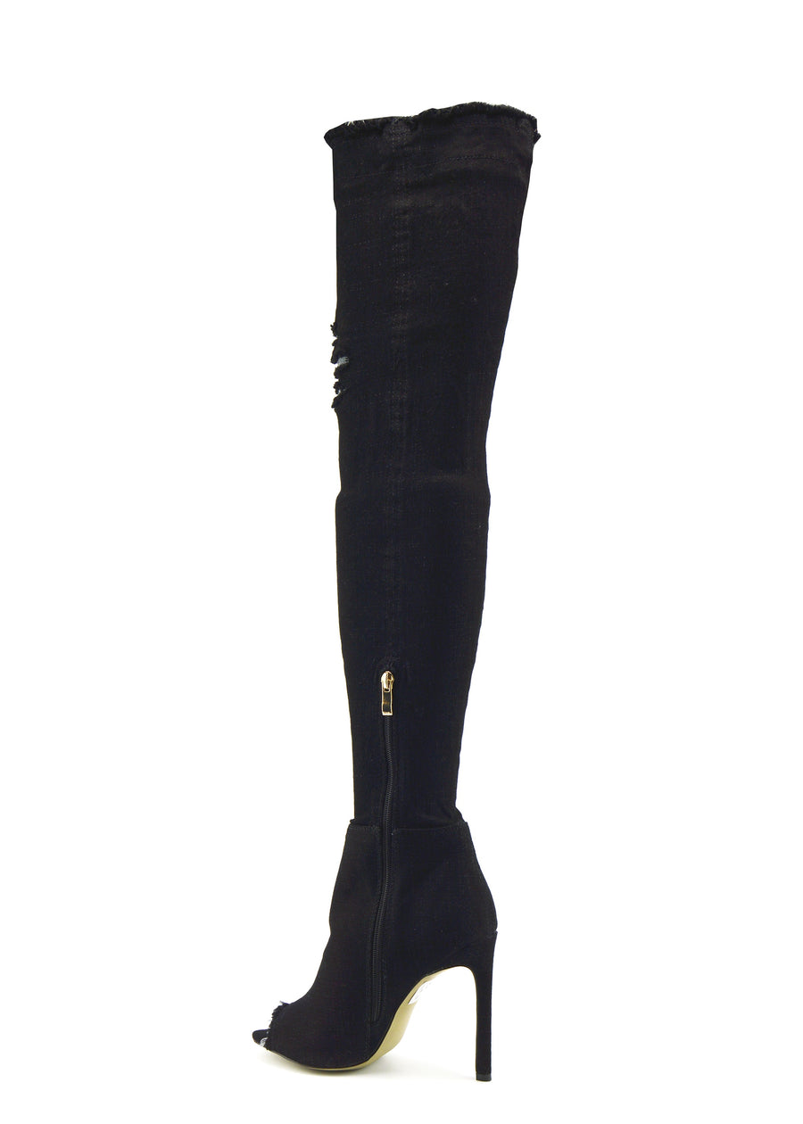Womens Stretch Denim Over The Knee Thigh High Open Toe Stilettos High Heel Boots - Black Denim