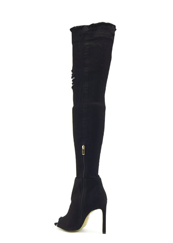 Jade Stretch Peep Toe Over the Knee Denim Boots - Black Denim