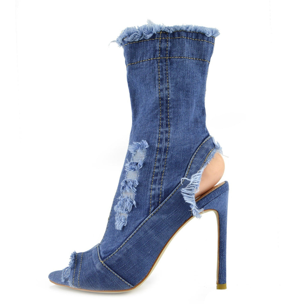 Jade Stretch Sock Ankle Denim Boots - Light Blue Denim