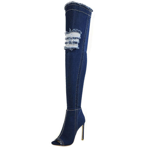Jade Stretch Peep Toe Over the Knee Denim Boots - Dark Blue Denim