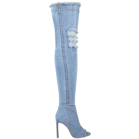 Jade Stretch Peep Toe Over the Knee Denim Boots - Light Blue Denim