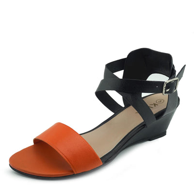 Womens Wedge Heels Comfortable Leather Sandals - Orange