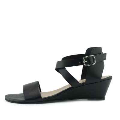 Womens Wedge Heels Comfortable Leather Sandals - Black