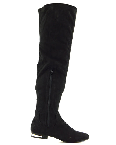 Olivia Over the Knee Flat Gold Trim Zip Boots - Black