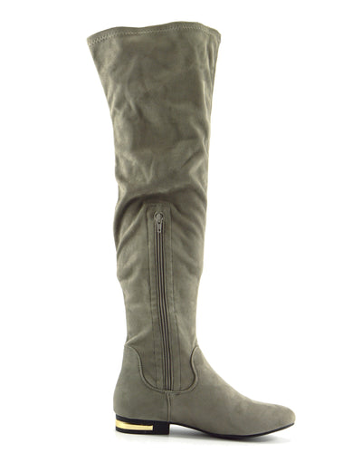 Olivia Over the Knee Flat Gold Trim Zip Boots - Grey