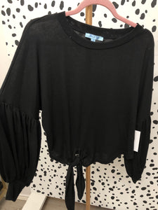 Puff Sleeve Knit Top- Black