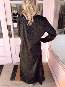 Silk Leopard Duster - Black