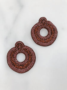 Beaded Chunky Stud Hoop - Burgundy