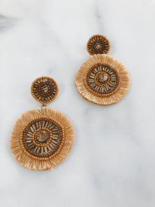 Circle Fringe Earrings - Rust