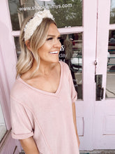 Load image into Gallery viewer, V-Neck Oversized Tee - Dusty Pink