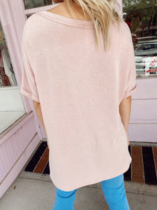 V-Neck Oversized Tee - Dusty Pink