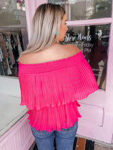 Load image into Gallery viewer, Pleated Off The Shoulder Top- Hot Pink
