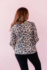 Asymmetrical Leopard Long Sleeve Sweater Blouse - Taupe