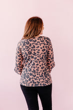 Load image into Gallery viewer, Asymmetrical Leopard Long Sleeve Sweater Blouse - Brick