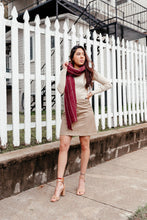 Load image into Gallery viewer, Pinstripe Scarf - Burgundy