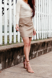 "Little ""Leather"" Skirt - Camel"
